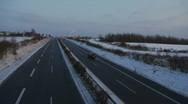 Stock Video Footage of HD1080i German Highway Autobahn snowy winter traffic