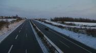HD1080i German Highway Autobahn snowy winter traffic Stock Footage