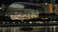 Stock Video Footage of Esplanade at Singapore River