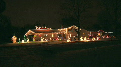 Holiday Decorations on the roof of a house - stock footage