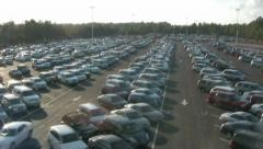 Arial fly by of parking lot  Stock Footage