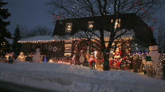 Canadian Home Exterior Decorated With Christmas Lights Stock Footage