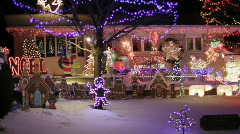 Christmas Lights On A North American House Night Stock Footage