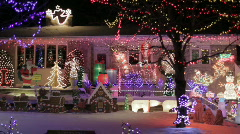 Night Light Display At A House For Christmas Holiday Celebrations - stock footage