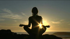 Spiritual Yoga Meditation Sunset at Beach Stock Footage