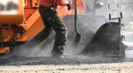Stock Video Footage of Worker Apply ASPHALT ROAD CREW Street Highway Street Site Industry