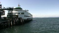 Seattle Ferry Leavers Pier Stock Footage