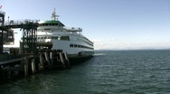 Stock Video Footage of Seattle Ferry Leavers Pier