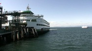 Stock Video Footage of Seattle Ferry Leaves Pier Time Lapse