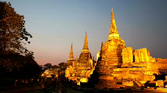 Stock Video Footage of Timelapse of sunset and dusk at Ayutthaya's famous palace, Wat Phra Si San Phet