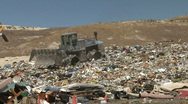 Stock Video Footage of Landfill Garbage Dump Tractor