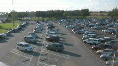 Flying over a Parking Lot Full of Cars Stock Footage