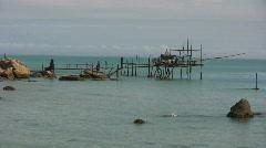 Fishing bridge at the adriatic sea in Italy Stock Footage