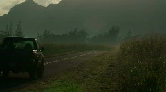 Truck on misty morning road Stock Footage