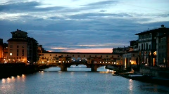 Ponte Vecchio of Florence at sunset Stock Footage