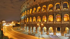 Rome: the Colosseum time lapse night timelapse - stock footage