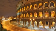 Stock Video Footage of Rome: the Colosseum time lapse night