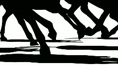 Close up of feet of herd of running horses, black silhouette on white Stock Footage