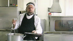Chef in kitchen at restaurant Stock Footage