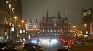 Stock Video Footage of moving cars in moscow night street, red square in background