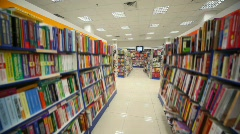 Panning of bookshop's interior Stock Footage