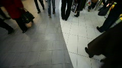 Buyers going in mall, view on floor, wide angle Stock Footage