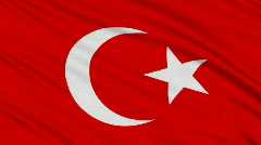 Turkish flag, with real structure of a fabric Stock Footage