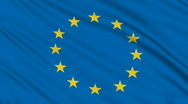 European flag, with real structure of a fabric Stock Footage