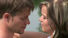Guy and girl kissing Stock Footage
