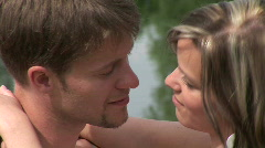 Lovers by the pond Stock Footage
