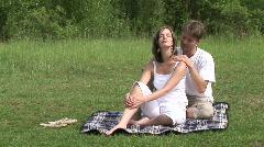 Man Caress His Girl And Kisses Stock Footage
