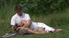 Lovers resting outdoor Stock Footage