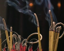 Incense Burns in Temple Yard Stock Footage