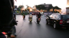 High Speed Motorcycle Taxi Ride Insane Dangerous Road Bangkok Downtown Thailand Stock Footage