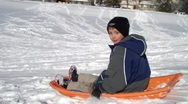 Stock Video Footage of sledding wipeout