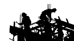 CONSTRUCTION WORKER SILHOUETTE Industry Site Building Development Scaffolding Stock Footage