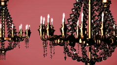 446 Elegant chandeliers pink fixed - stock footage