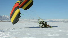 Power parachute frozen lake takeoff P HD 5840 Stock Footage