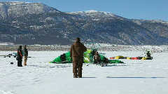 Powered parachute takeoff winter snow P HD 5833 Stock Footage