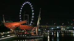 Singapore Flyer and Esplanade Stock Footage