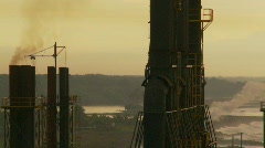 industry, power generator smoke stacks, #8, big tracking shot - stock footage