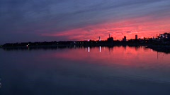 Sunset and plane on Castle Island Stock Footage