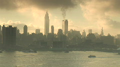 Cruise ship in front of New York skyline Stock Footage