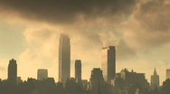 Stock Video Footage of Clouds surrounding New York Skyline