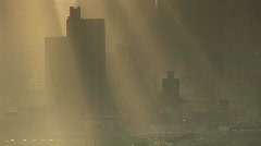 Sun Streaks on the New York Skyline Stock Footage