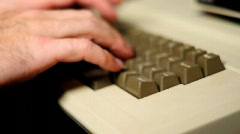 Typing on a 1980S Retro Apple Ii Computer Stock Footage