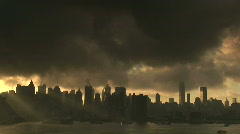 Sunrise over New York City Skyline Stock Footage