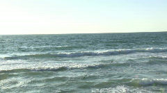 Sea shore line pan from beach to jaffa and tel aviv  Stock Footage