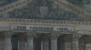 Zoom Out From The Inscription On The Reichstag Stock Footage