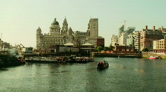 Narrow boats on the River Mersey 3, Liverpool Stock Footage